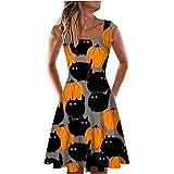 Summer Dresses for Women Cold Shoulder Strapy U Type Halloween Pumpkin Print Dress Fashion Casual Midi Dress