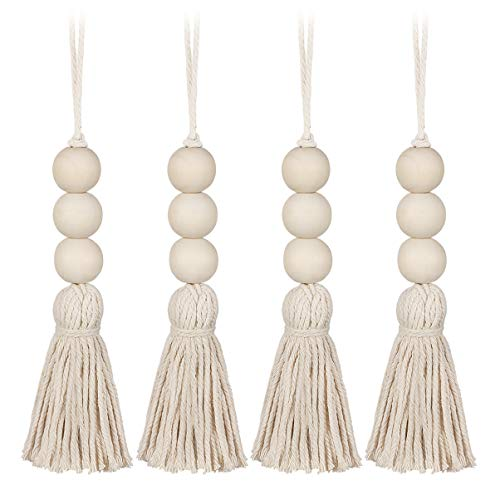 BESPORTBLE 4 Pcs Farmhouse Beads Wood Bead Garlands with Tassels Rustic Country Decor Prayer Beads Hanging Decor
