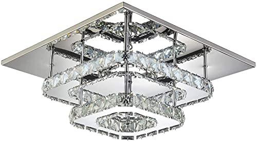36W, accesorio de techo moderno para sala de estar y dormitorios Luz de techo LED, luces de techo de cristal cuadradas 2 tableros LED incorporados 110-220V IP20 Luz de techo de cristal cuadrada Luz de