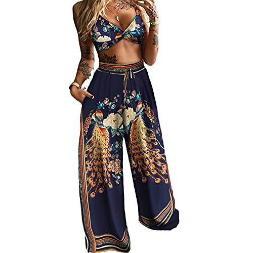 Conjunto de 2 camisetas de mujer con cuello en V sin mangas, camiseta de cintura alta, pantalones largos, camiseta de tirantes y pernera ancha, pantalones deportivos Pavo Azul M