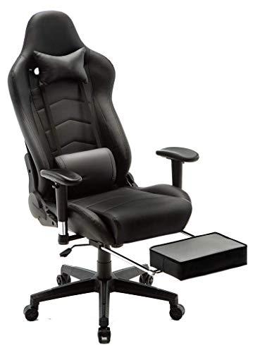 Ergonomische gamingstoel met massage, ergonomische racing-stijl, rugleunstoel, ergonomische bureaustoelen, gamer stoel voor computer, PU-leer, E-Sport Racing stoelen met voetsteun, Lendenkussen, bureaustoel voor PC
