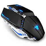 TENMOS T21 Bluetooth Mouse, 2.4G LED Dual Mode (Bluetooth 5.1+ USB) Bluetooth Wireless Mouse, Rechargeable Silent Computer Gaming Mice for Laptop, iPad, MacOS, PC, Windows, Android (Black)
