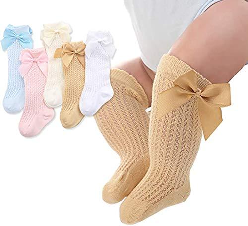 PAADIYA Recién nacido Bebé Medias Grande Nudo de proa Medias Calcetines largos Suave Medias de algodón Calcetines princesa 0-2 años (5 PACK, 0-12 meses)