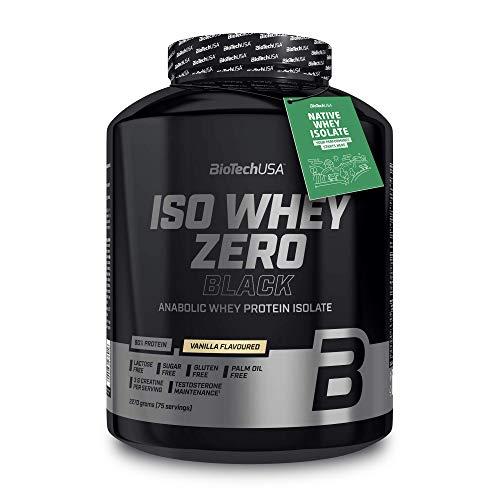 BioTechUSA Iso Whey Zero Black Proteinpulver, mit 90{4fe4f77a9995dd45246fd434812ef309b380633a610984bc8da72276f61c308b} Proteingehalt aus Molkenprotein-Isolat, mit extra Kreatin, Aminosäuren, Zink und Vitamin B3, 2.27 kg, Vanille