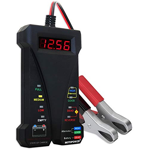 MOTOPOWER 12V Digitale Batterietester Voltmeter Ladesystem-Analysator mit LCD-Display und LED-Anzeige - Schwarz