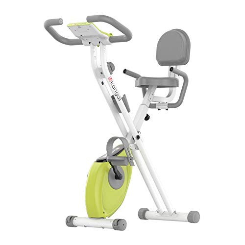 ALGWXQ Indoor Exercise Bike,Home Fitness Cycling Stationary Bikes, Indoor Foldable Trainning Mute Magnetic Control Bike Workout Sport Equipment With Ipad Holder and Mute Wheel,Green (Color : A)