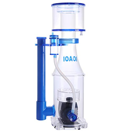 Protein Skimmers for Saltwater Aquariums up to 130 Gallons Fish Tank, In Sump Protein Skimmer, Ultra Quiet Needle Pinwheel Pump, 15W for Big Tank Water Flow and Air Flow Adjustable