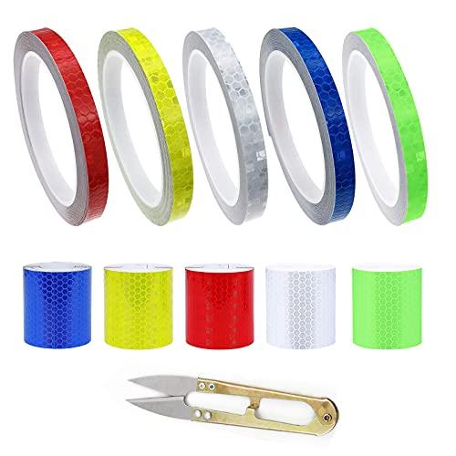 GZjiyu 10 Rollen Reflektorband Selbstklebend, PVC Warnaufkleber Reflektierend für Autos Motorrad Fahrräder Straßenmarkierung Nachtschutz (2 Größen: 1cm x 8m, 5cm x 1m)