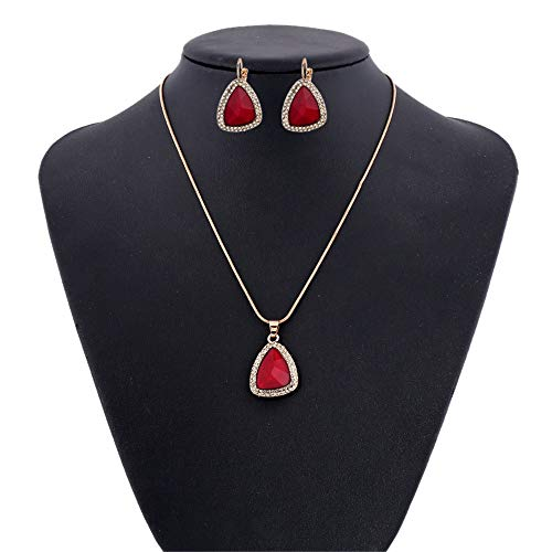 Set di gioielli Collana Diamante Orecchini delle goccioline di acqua donne eleganti dei monili Insieme Della collana pendente di cristallo + Earrings Set monili delle signore Set ciondolo collana