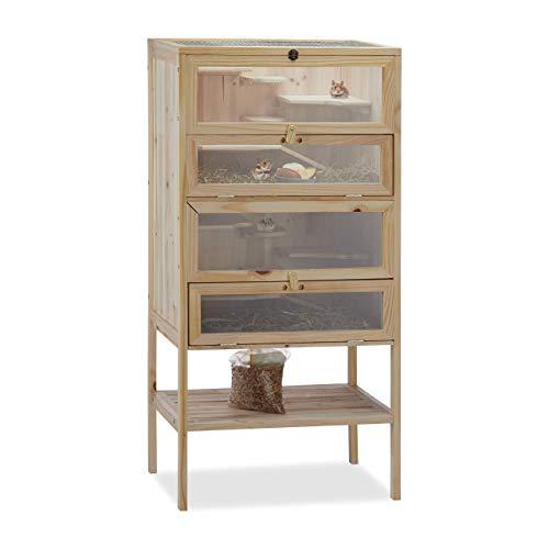 Relaxdays Hamsterkäfig aus Holz, 3 Etagen, Klappen, Sichtfenster, Gitterdach, Nagerkäfig XXL, HBT: 120x60x40 cm, natur