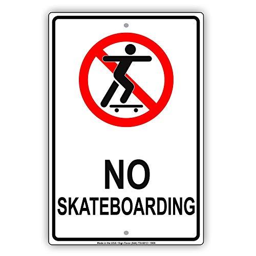 Odeletqweenry Metalen bord Geen Skateboarden Toegestaan Met Grafische Beperking Waarschuwing Waarschuwing Kennisgeving Aluminium Metalen bord Plaat(7