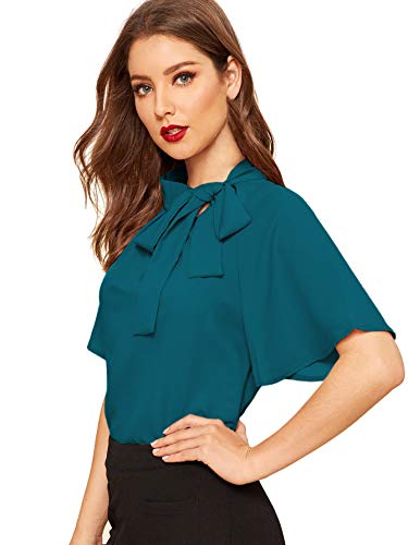 SheIn Women's Casual Side Bow Tie Neck Short Sleeve Blouse Shirt Top Large Teal Blue