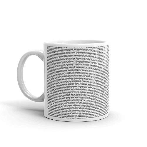 N\A aza Blanca de cerámica con Frases de Comedia de Shrek Script Completo