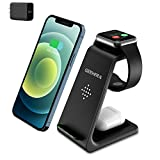 Wireless Charging Stand, GEEKERA 3 in 1 Wireless Charger Fast Charging Dock Station for Apple Watch 6 SE 5 4 3 2, Airpods 2/Pro, iPhone 12/12 Pro/12 Pro Max/11/11 Pro/X/Xr/Xs/8 Plus, Qi Phones