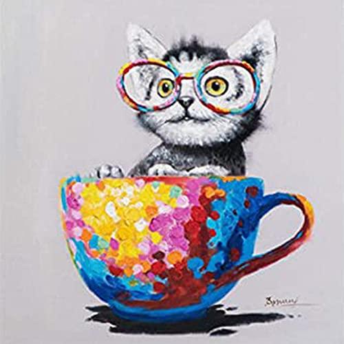 5D pintura diamante taladro completo kit Taza y gato DIY Diamond Painting rhinestone bordado de Punto de Cruz para la Decoración de la Pared del Hogar regalos artesanía 40x50cm