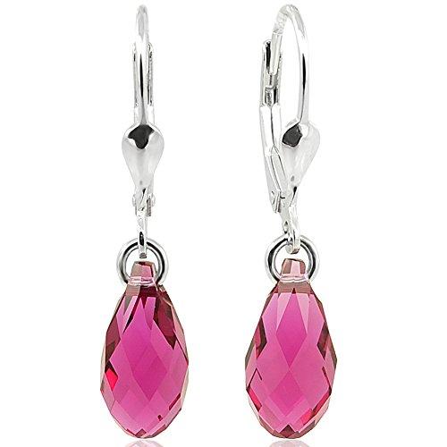 Ohrringe Ohrhänger Tropfen mit Swarovski Kristallen 925 Sterling Silber Pink NOBEL SCHMUCK