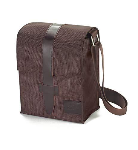 JurSkin braun - SchönfelderSkin Tasche im Hochformat mit Überschlag: Buchhüllen-Tasche mit Tragegurt in Material Nylon/Leder, Farbe braun