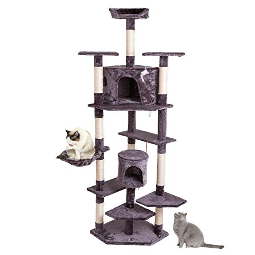 N\A 80 Inches Cat Climbing Tree Scratching Post, Sisal Cat Play Tower Activity Centre Cat Scratching Tower Cat Tree Tower with Condo, House Kitten Tree Tower Hammock Perch (Grey)