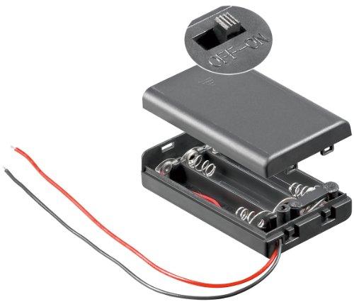 Wentronic - Portapilas (para 3 pilas AAA, armazan cerrado con interruptor) 10 unidades