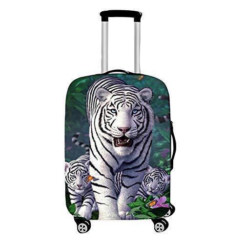 Surwin 3D Cubierta de Equipaje Protectora Suave Elástico Anti-Polvo Lavable Funda de Maleta Luggage Cover con Cremallera Viaje Cubierta de la Caja (Tigre Blanco,XL (30-32 Pulgadas))