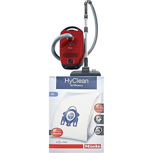 Miele Classic C1 EcoLine Staubsauger (4.5 L, 550 W) + 9917730 Staubbeutel HyClean 3D, Inhalt: 4 Staubbeutel , 1 Air Clean Abluftfilter für saubere Raumlauft, 1 Motorschutzfilter, rot