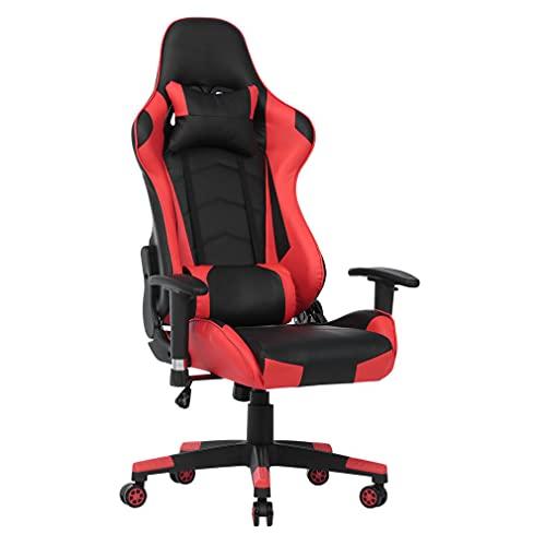 Gaming Stuhl Bürostuhl Ergonomischer PC-Stuhl, Racing Stil PU Leder Hohe Rückenlehne Verstellbarer Drehsessel,Drehstuhl mit Hoher Rückenlehne, PU Sportsitz Racing Chair (Rot,127-137cm)