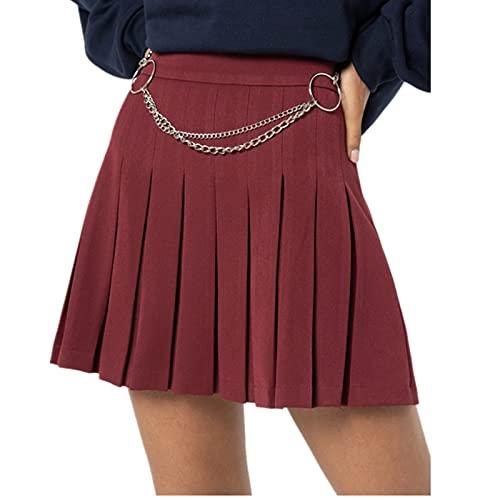 Glosun Falda plisada de cintura alta para mujer, uniforme escolar, minifaldas, con cadena de metal, rojo vino, 36