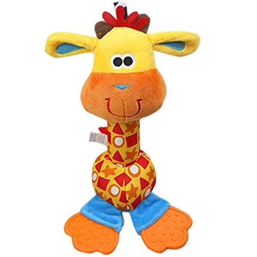 Happy Cherry Peluche Juguete Infantil Muñeca de Animal de Ciervo con Sonajero Mordedor Multicolor Rattle para Bebés Niños Niñas Baby Toys