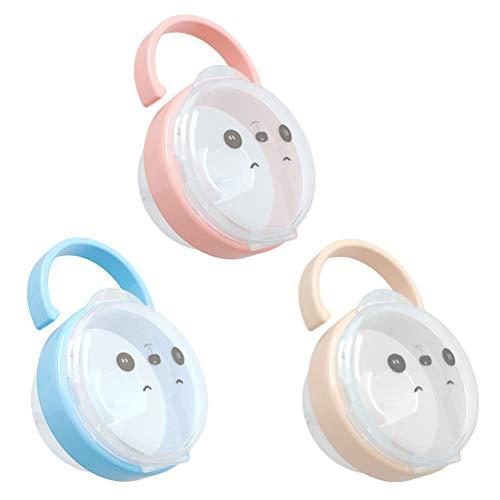 INTVN 3 Schnuller-Aufbewahrungsboxen, Tragbare Staubdichte Transparente Baby-Schnullerbox, BPA-frei, geeignet für die tägliche Aufbewahrung von Schnullern verschiedener Stile