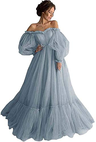 yinyyinhs Off Shoulder Long Puff Sleeve Prom Dress Sweetheart Tulle Wedding Party Ball Gowns Dusty Blue Size 20 Plus