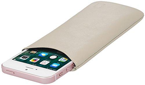 StilGut Pouch, Universal-Hülle aus feinstem Nappaleder | Sleeve Handyhülle Größe S passend für z.B. iPhone SE, iPhone 5s, Samsung Galaxy S4 Mini, u.a, Creme Nappa