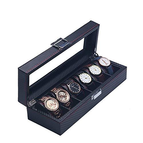 Caja de Reloj de Cuero con Ranura, Organizador de Vitrina, Almacenamiento de Joyas de Vidrio, Cuero Negro de PU con Tapa de Vidrio Grande