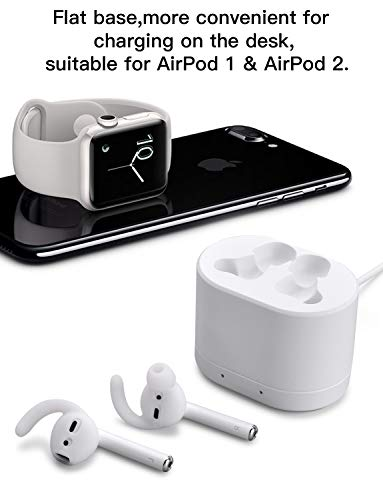 WONEIRA Airpod Charging Case Airpods Charging Dock Charger Adapter Compatible with Airpods 1 & Airpods 2 Wearing Covers Such as EarBuddyz, AhaStyle Silicone Earplugs (White)(Airpods not Included)