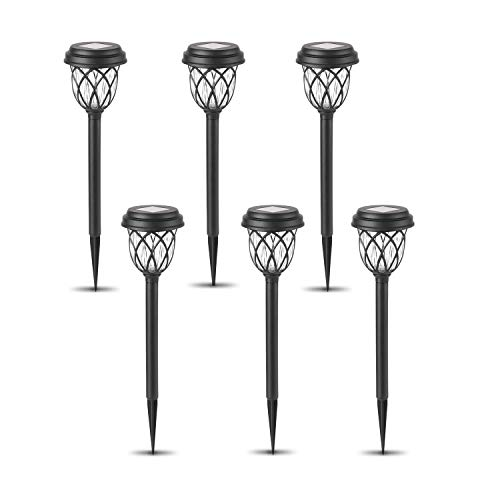 Solar Pathway Lights Outdoor, 6 Pack Solar Powered Led Garden Lights, Waterproof Landscape Lighting for Patio, Lawn, Driveway, Walkway (Warm White)