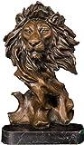 RSRZRCJ Estatuas Figuritas Decorativas Escultura De Cabeza De León Estatua De León Escultura De Bronce De Escritorio Escultura De Animales Decoración del Hogar 34 * 18 * 15 Cm
