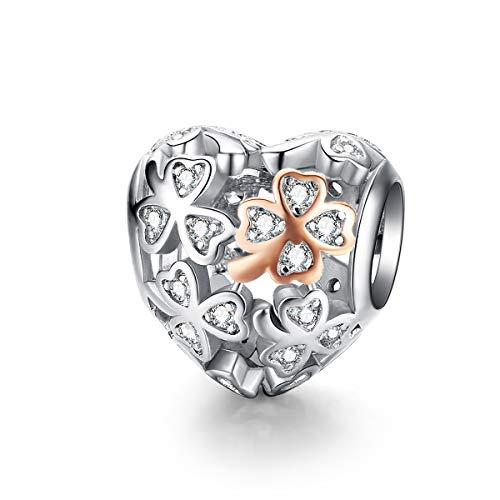 Lily Jewelry - Ciondolo a forma di quadrifoglio portafortuna a forma di cuore, in argento Sterling 925, con zirconia cubica, compatibile con braccialetti europei