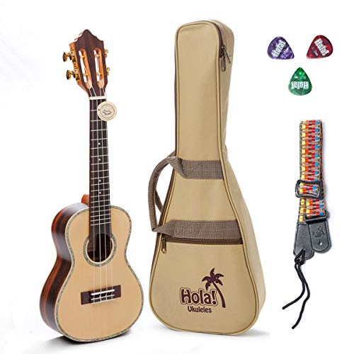 Concert Ukulele Professional Series by Hola! Music (Model HM-424SSR+), Bundle Includes: 24 Inch SOLID Spruce Top Ukulele with Aquila Nylgut Strings Installed, Padded Gig Bag, Strap and Picks