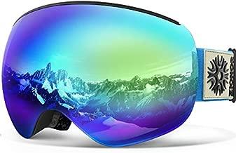 ZIONOR X4 PRO Ski Goggles - Magnetic Snowboard Goggles - Interchangeable Lens Snow Goggles - Anti-fog UV Protection for Men Women (VLT 21.78% Blue Lens)