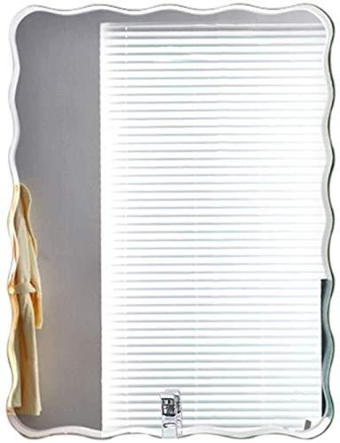 Espejo Maquillaje Cuarto de baño montado en la pared de espejo, sin marco creativo Plaza borde de la onda de maquillaje Espejo - Simple Espejo decorativo de pared de vidrio ( Size : 60x80cm )