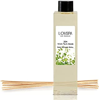 LOVSPA Zen White Tea & Ginger Reed Diffuser Oil Refill with Replacement Reed Sticks Fragrances | Light Citrus Notes, Peonies, Lavender & Geraniums, Sandalwood & Musk