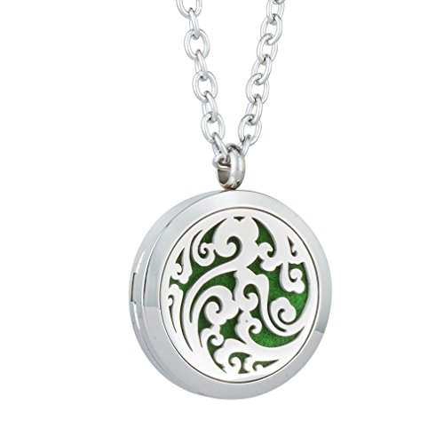 JOYMIAO Essential Oil Diffuser Locket Necklace Locket Aromatherapy Locket Pendant with 8pcs Refill Pads 24' Chain Jewelry Set