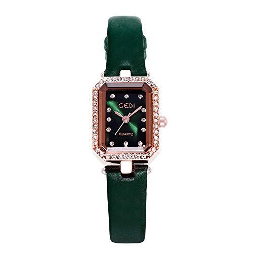 YIBOKANG Taladro De Agua Luz De Lujo Cinturón De Lujo Estudiante Reloj Femenino Plaza Simple Temperamento Moda Casual Reloj De Cuarzo (Color : Verde)