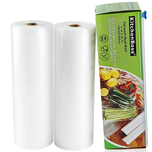 KitchenBoss Bolsa de vacío para alimentos [Sin BPA] para máquina de vacío [2 Rolls 28x1500cm ]
