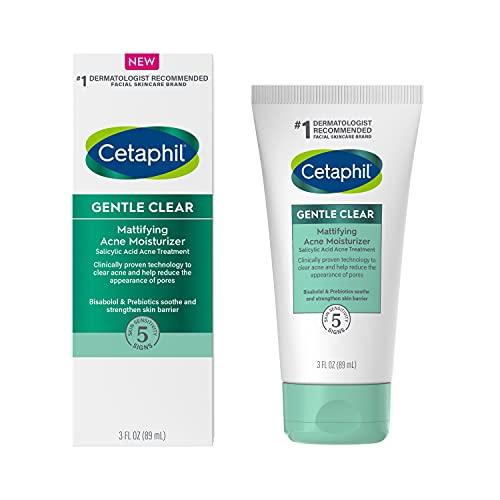Cetaphil Face Moisturizer, Gentle Clear Mattifying Acne Moisturizer With 0.5% Salicylic Acid, Hydrates and Treats Sensitive Acne Prone Skin, Skin Care for Sensitive Skin, 3oz