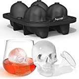 Supchill Extra Large 3D Skull Ice Cube Mold - Flexible Silicone Skull Ice Maker Mold for Whiskey - 4 Cavity Skull Ice Cube Tray with Funnel - Skull Mold for Baking, Chocolate, Candy and Resin