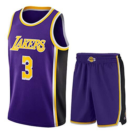 Männer Und Frauen Jersey - NBA Lakers 3# Anthony Davis Trikots Atmungsaktives Besticktes Mesh Basketball Swingman Shirt Set,Lila,S