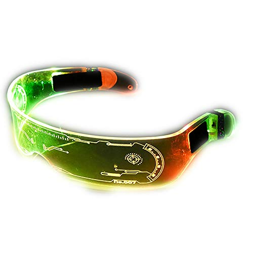 Led glasses Cyberpunk Glasses LED Lights Luminous Glasses Futuristic Electronic Visor Glasses Light Up Glasses Perfect For Cosplay and Festivals Halloween Performance Event & Party Supplies