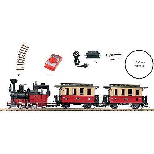 LGB Gartenbahn 70302 - Personenzug-Starterset, mit Soundfunktionen, Modelleisenbahn Spur G 230V, Startpackung für eine allwettertaugliche Gartenbahn