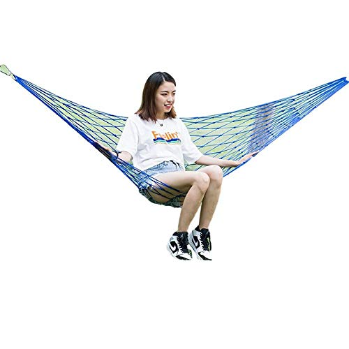 HUANXI Portátil Soltero Amacas Terraza con Tie Rope + Bolsa De Almacenamiento,300kg de Capacidad de Carga (220x120cm) Cielo Azul Silla Colgante con Soporte para Acampar Al Aire Libre