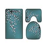 A.Monamour Juego de 3 Alfombrillas de Baño Flores De Cerezo Rosa Floral Fondo Azul Franela Absorbente Antideslizantes Alfombra de Baño Tapete